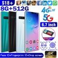 2020 Androidスマートフォン6.7インチフルスクリーンS18 +フェイスアクセス、8 + 512 GB大容量メモリAndroid携帯電話デュアルカードサポートTカード4Gスマートフォン