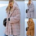 厚フェイクファービッグフード付きロングパーカー/オーバーコートウィンターキープ暖かいピーコートジャケット