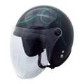 TNK JL-65SR ヘルメット ブラック/ラメグリーンファイヤー
