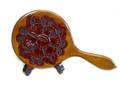 木彫り手鏡(大)花模様彫り