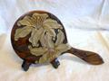 木彫り手鏡(大)カサブランカ彫り