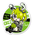 """""""Girls in color""""ステッカー★GREEN"""
