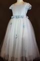 ◆送料お得プラン商品◆(G-140-8)ブルーのお花のドレス140cm