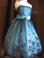 ◆送料お得プラン商品◆(G-130-72)刺繍が素敵なブルードレス130cm