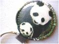 豚革 キーホルダー 丸型 パンダ