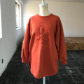 3D flower orange sweat shirt