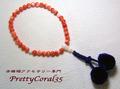 桃サンゴ 7mm玉 スカッチの片手数珠104