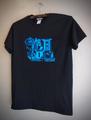 LOVELESS - S/S T-shirt (BLACK/neon blue print)