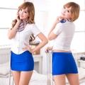 白×青 スチュワーデス コスプレ衣装