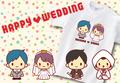 【Aniversa-T】結婚祝い ちびウェディングTシャツ
