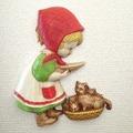 ●SOLD●赤い頭巾の女の子とネコの壁掛け