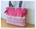 裂き織りのバッグ*リボンショルダー*ピンク