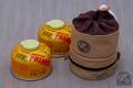 110サイズ ガスカートリッジ二本収納袋 ●帆布ベージュ+チョコ