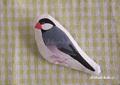 布ブローチ 桜文鳥