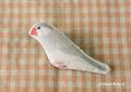 布ブローチ シルバー文鳥