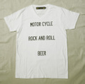 "【HAMATOLA!】""Motorcycle-R&R-Beer"" V-Neck T-Shirts (White)"