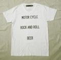 """【HAMATOLA!】""""Motorcycle-R&R-Beer"""" V-Neck T-Shirts (White)"""