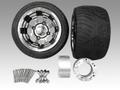 ジャイロ用ブラックアルミホイール扁平タイヤ&スペーサー70mmセット品番150
