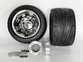 ジャイロ用ブラックアルミホイール引っ張りタイヤ&スペーサー40mmセット品番371