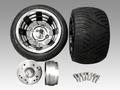 4stジャイロ用ブラックアウトアルミホイール扁平タイヤ&スペーサーセット品番227