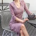 シースルー花柄総レースタイトドレス