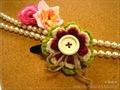 3色編みモチーフのヘアピン(Gr)