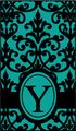 ダマスクイニシャルリボン 緑×黒