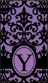 ダマスクイニシャルリボン 紫×黒