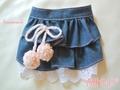 デニム風ミニスカート+ポンポン