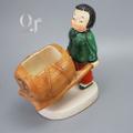 車をおす少女 磁器人形 輸出陶磁器 瀬戸ノベルティ オキュパイドジャパン