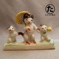 散歩中の猫親子 磁器人形 1920-30年代輸出品