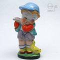 笛を吹く少年とアヒル 磁器人形  オキュパイドジャパン