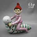 オキュパイドジャパン 虫にのる妖精 磁器人形