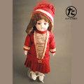 アンティークビスクドール用 ドレス・ボンネットのセット(フレンチスタイル・赤ワイン色)