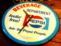 BUBBLE DOME GLASS WALL CLOCK ~PEPSI~