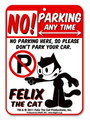 FELIX THE CAT PLASTIC SIGN BOARD~NO PARKING~