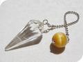 No.519 ゴールドタイガーアイと水晶のペンデュラム