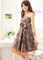 リボン付き花柄ドレス