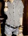 韓国ファッション ストライプシャツ(M)