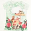 <転写プリント>Tシャツ!うさぎと小鳥