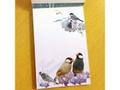 文鳥メモ帳(青い花と文鳥)