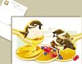 雀とパンケーキのポストカード