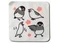 ハンドタオル文鳥4羽