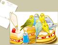 セキセイインコとケーキのポストカード