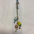 2羽ヘンプ糸ストラップ<3>セキセイブルー&黄ハル