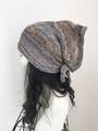 夏用ショートからロング帽子ターバン⑥雅な茶グレーのタオル縛り