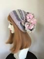 1525 和み虹色やさしい帽子:パステルグレー