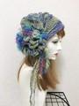 1767 リボン編みの帽子ターバン:青ファー