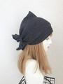 夏用ショートからロング帽子ターバン④ブラックデニム風