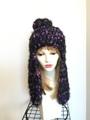 1276 ロング耳当て帽子:紫黒